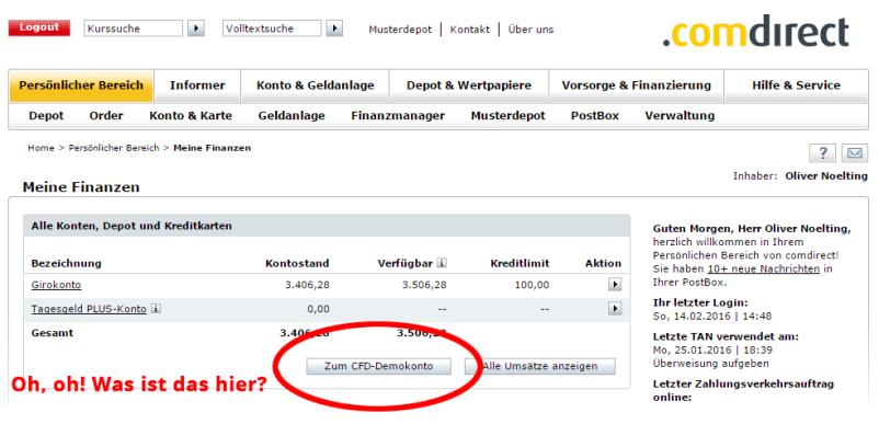 comdirect Onlinebereich