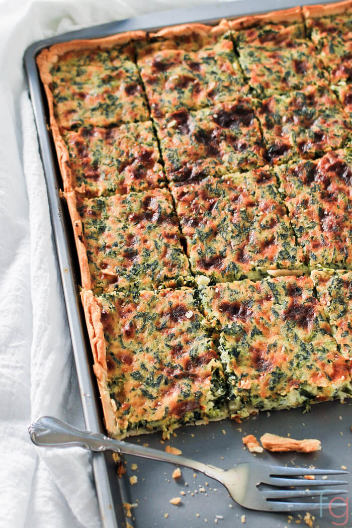 Easy Appetizers for a Party - Savory Spinach and Ricotta Slab Pie. Perfect Party Food!