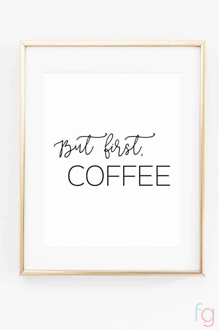 Free Printable Wall Art | Apartment Kitchen Decor Ideas | Free Printable Kitchen Art | Free Kitchen Printables Black and White | But First Coffee Bar Printable | Kitchen Gallery Wall Printables