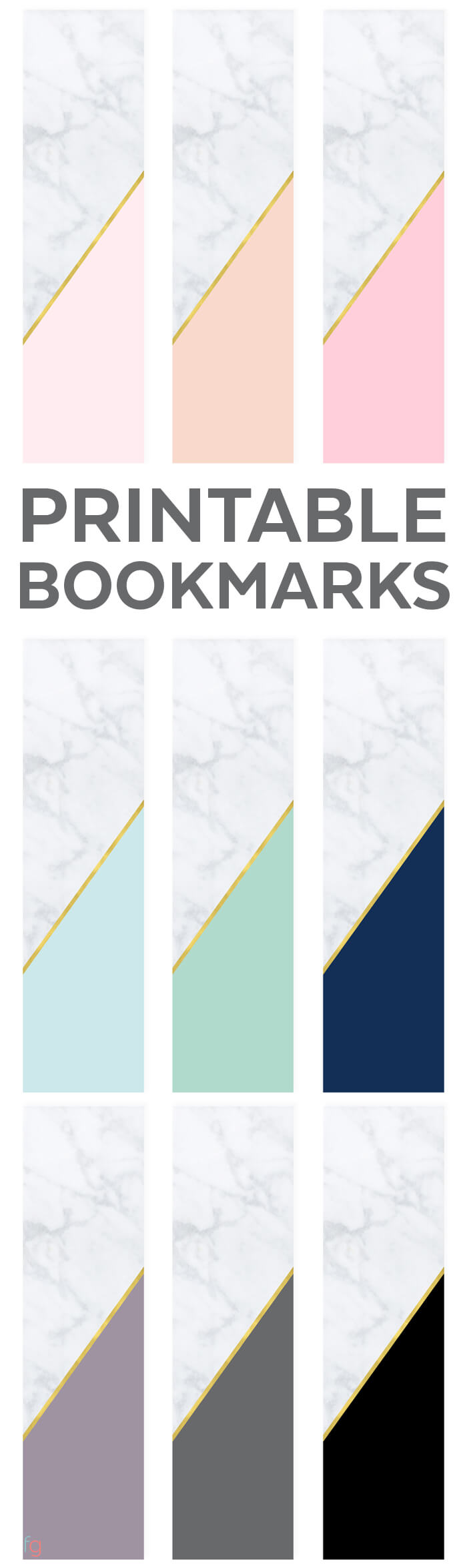 Bookmarks Printable   Free Printable Bookmarks Free   Book Lovers   Free Printable Bookmarks for Adults   Modern Printables   Marble and Gold
