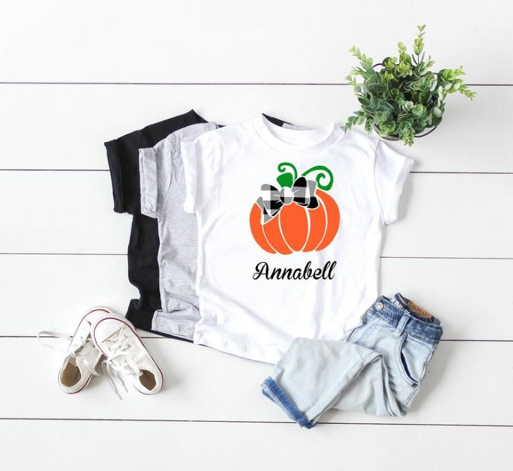 Girls Personalized Pumpkin Shirt