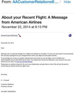american airlines customer service email