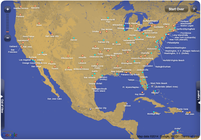 Southwest Airlines Cities Map