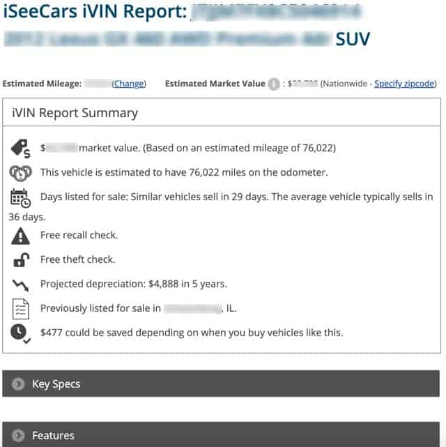 iSeeCars Free VIN Report Frugal Reality