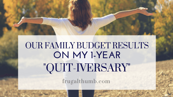Our Family Budget Results on My One-Year Quitting Anniversary