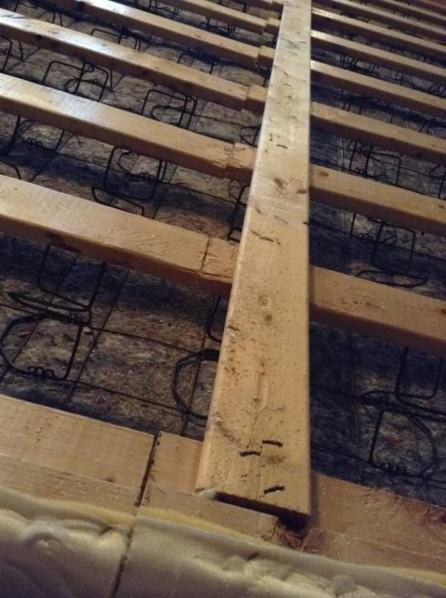 cutting box springs wood beams in half