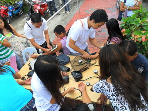 Blood pressure testing in the Philippines.