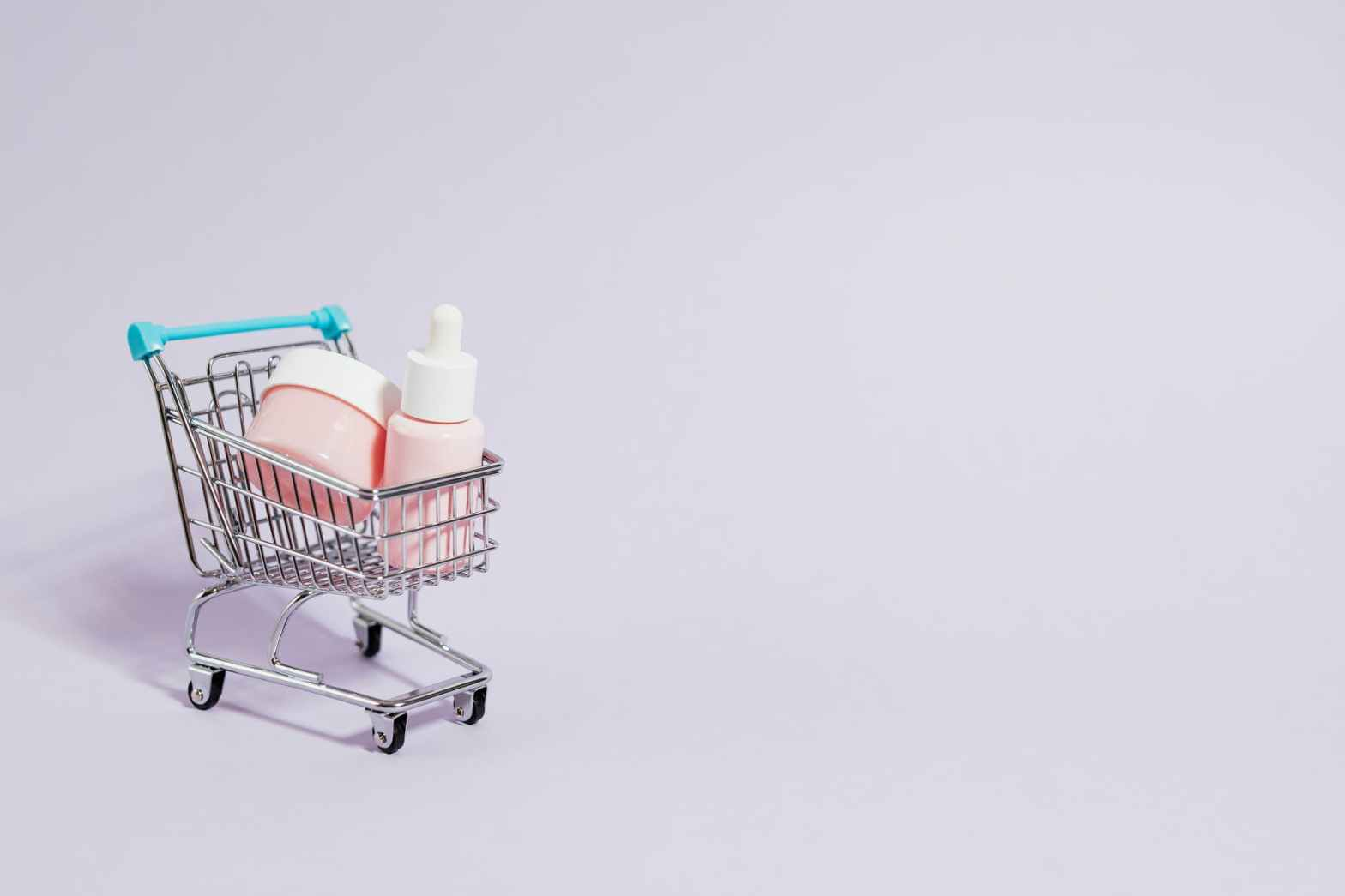 cosmetic products in a cart