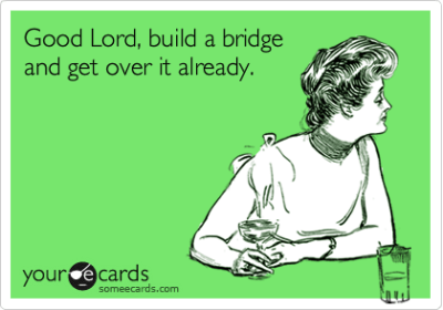 build a bridge and get over it, funny meme from someecards.com.Kimpossible2