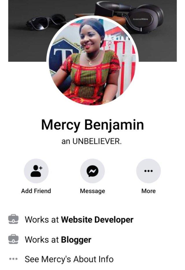 Mercy Benjamin's allegation against pastor kumuyi
