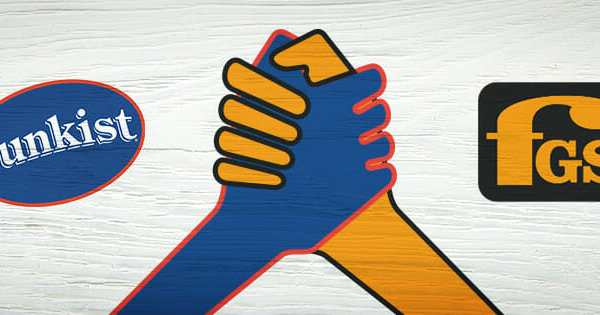 Two Hands One Blue and One Yellow Grasping Each Other in Solidarity with Sunkist and Fruit Growers Supply Logos