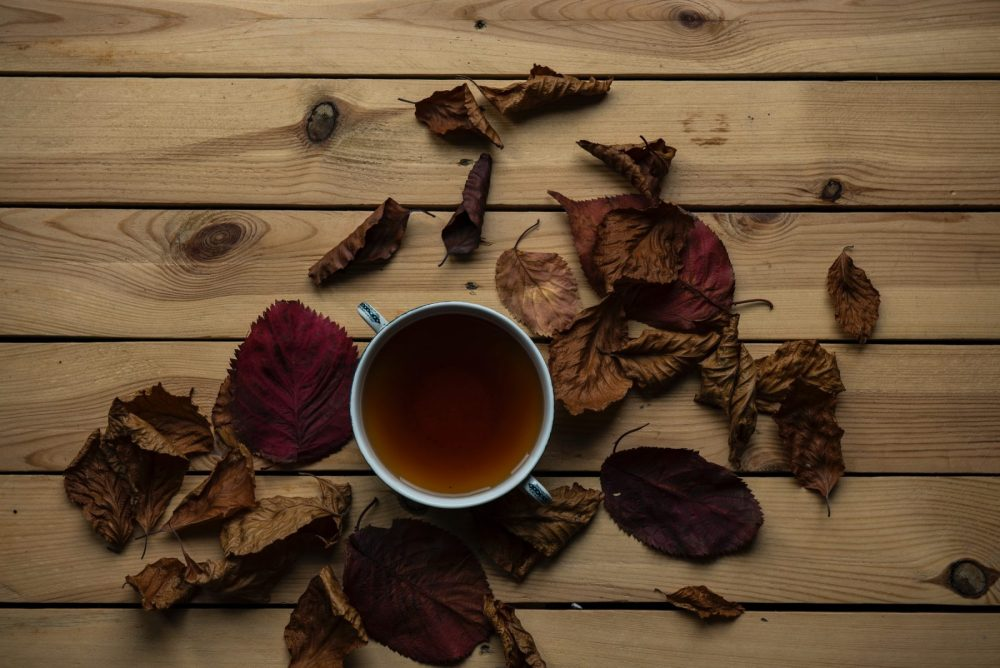 tea with fall leaves