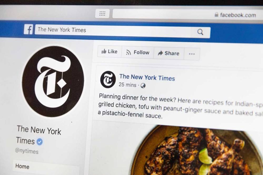 New York Times recipe post on Facebook.