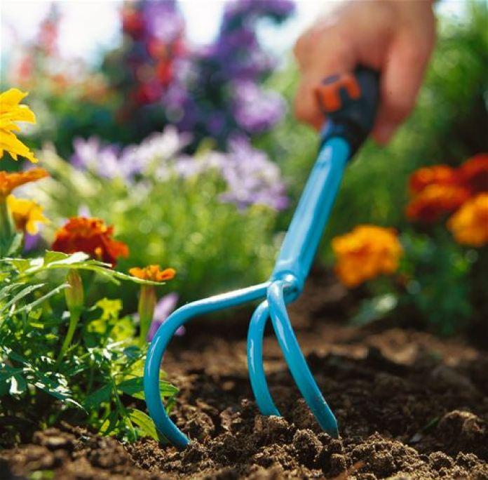 Обработка почвы ручным культиватором