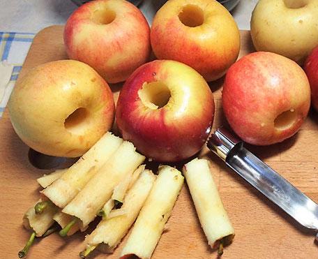 Удаление сердцевины яблок