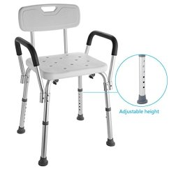 Shower Chair With Back And Armrests Covers Leeds Portable Aluminium W Arms Adjustable Handicap Medical Bath Bathroom Aid Easy No Tool Assembly Up To 330lbs Us Stock