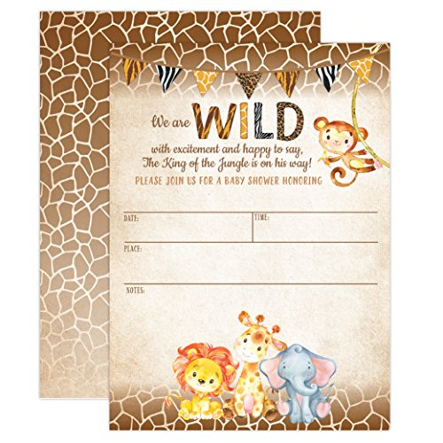 Jungle Safari Baby Shower Invitations Animal
