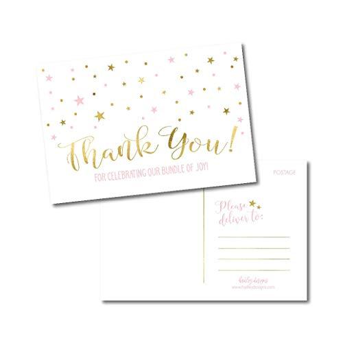 25 Girl Baby Shower Thank You Note Card Bulk Set, Blank
