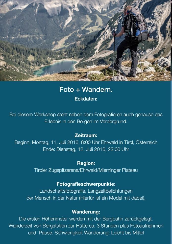 Flyer Fotoworkshop in Tirol 11. bis 12. Juli 20162