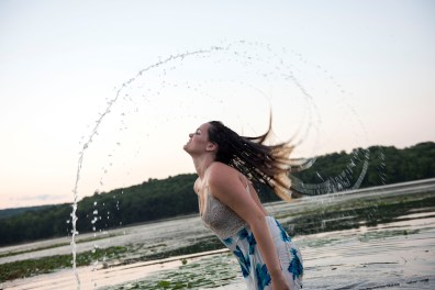 Katrina does the Ariel hair flip out of the water at Yellow Creek State Park