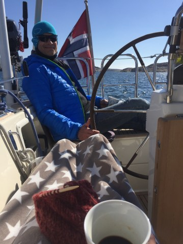 On board in fryd og floke with coffee, knitting and my captain