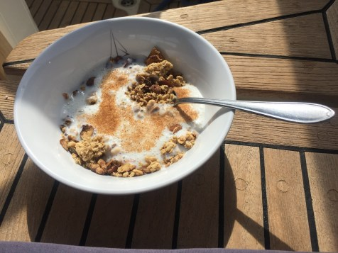 Sunny breakfast Homemade musli cinnamon cultura
