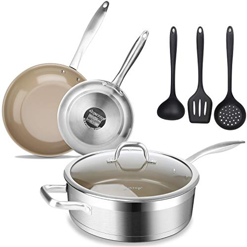 7PC NONSTICK Cookware Set Frying Pot Saucepan /& Pan Steel Carbon Coated KITCHEN