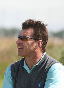 The British professional golfer Nick Faldo.
