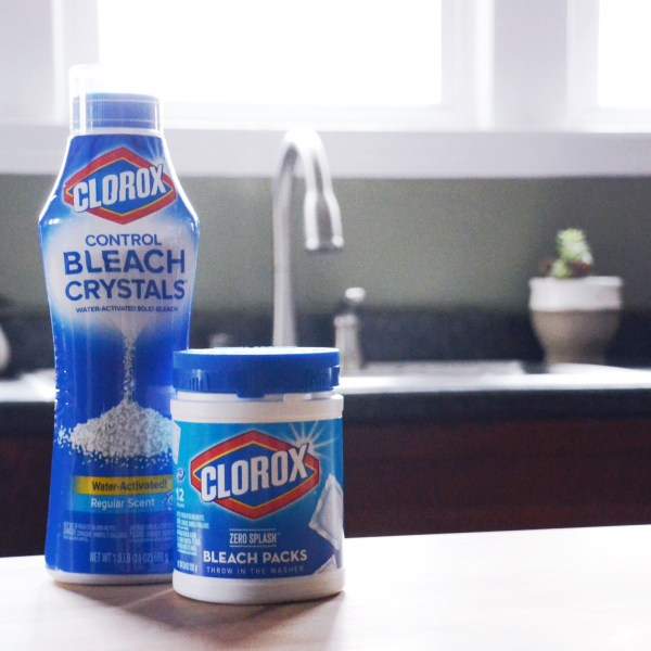 Spring cleaning with clorox control bleach crystal and zero splash bleach packs