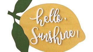 Creative Co-op Hello Sunshine Lemon Shaped Wood Decor