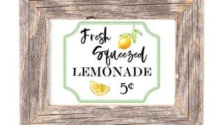 Free lemonade stand printable art and lemon decor inspiration