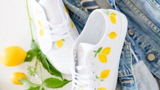Lemon print shoes DIY - video