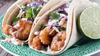 Sweet Chili Shrimp Tacos with Cilantro Slaw
