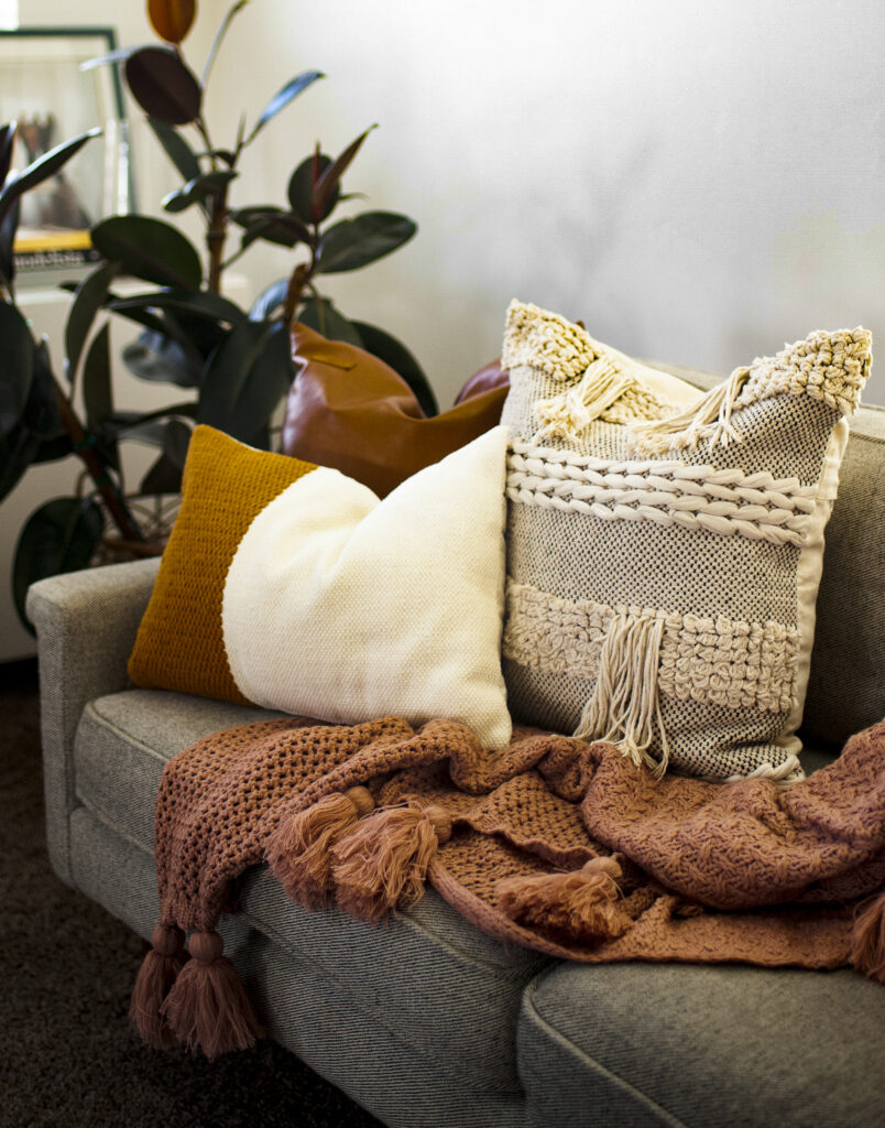 Fall Pillows on Tan Couch