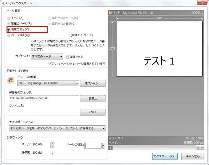 [ページ範囲] グループの [現在の表示] オプション ボタンをオンにすると現在の表示が範囲に選択されます。