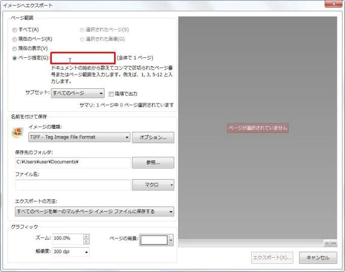 [ページ範囲] グループの [ページ指定] オプション を設定してページを選択します。