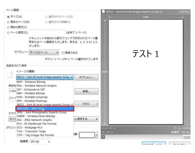[名前を付けて保存] グループの [イメージの種類] コンボ ボックスリストの [JPEG2000 - JPEG 2000] をクリックします。