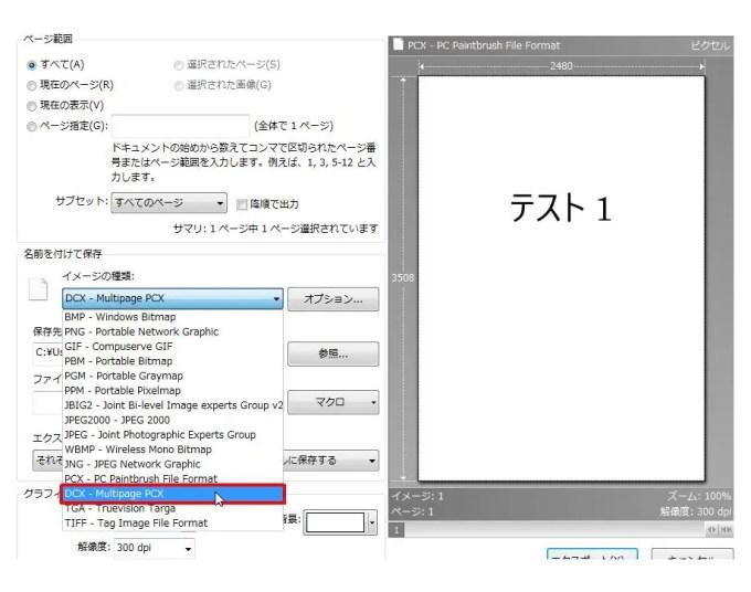 [名前を付けて保存] グループの [イメージの種類] コンボ ボックスリストの [DCX - Multipage PCX] をクリックします。
