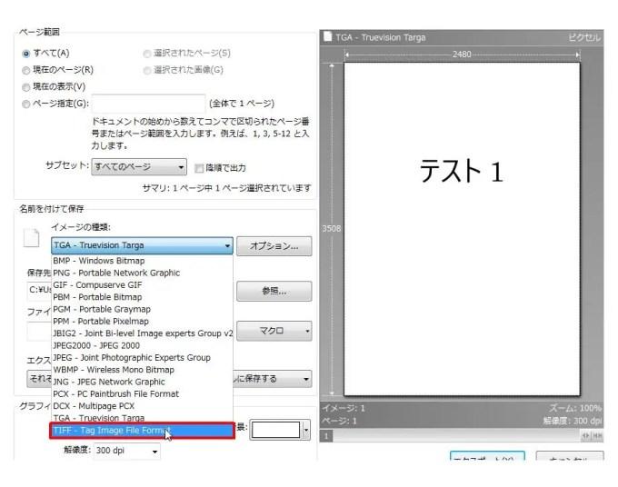 [名前を付けて保存] グループの [イメージの種類] コンボ ボックスリストの [TIFF - Tag Image File Format] をクリックします。