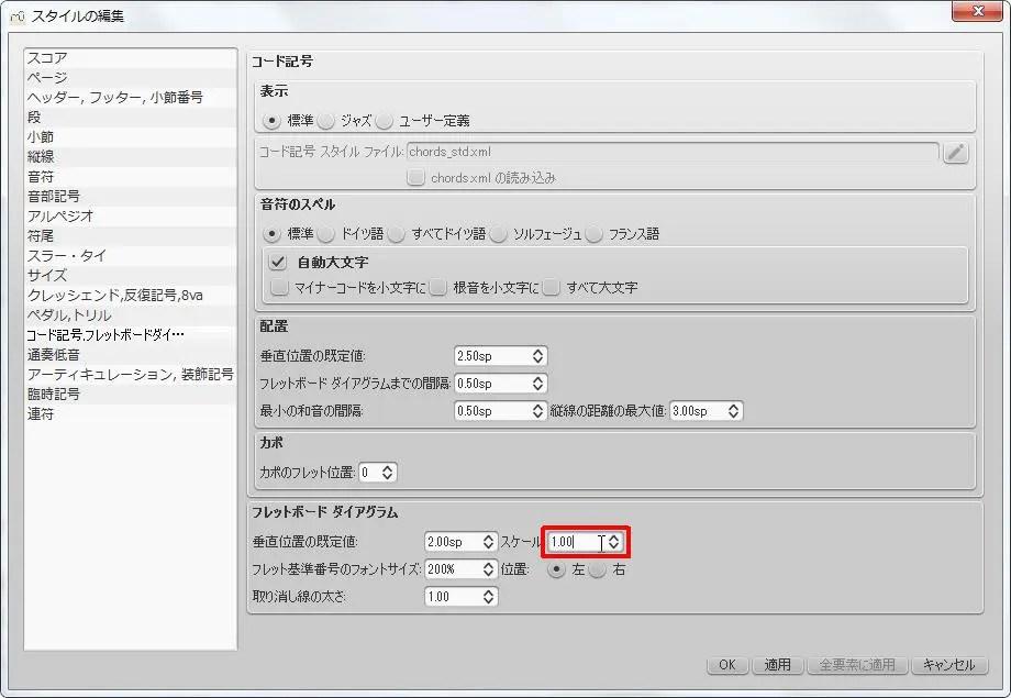 楽譜作成ソフト「MuseScore」[ペダル・トリル・コード記号・フレッドボードダイ][フレットボード ダイアグラム] グループの [フレットボード ダイアグラム] スピン ボックスを選択できます。