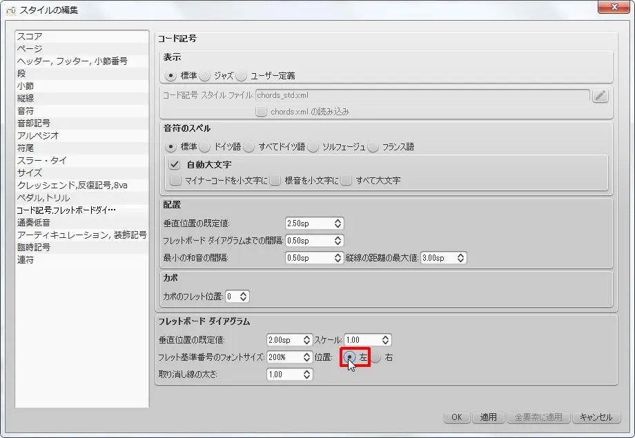 楽譜作成ソフト「MuseScore」[ペダル・トリル・コード記号・フレッドボードダイ][フレットボード ダイアグラム] グループの [左] オプション ボタンをオンにします。