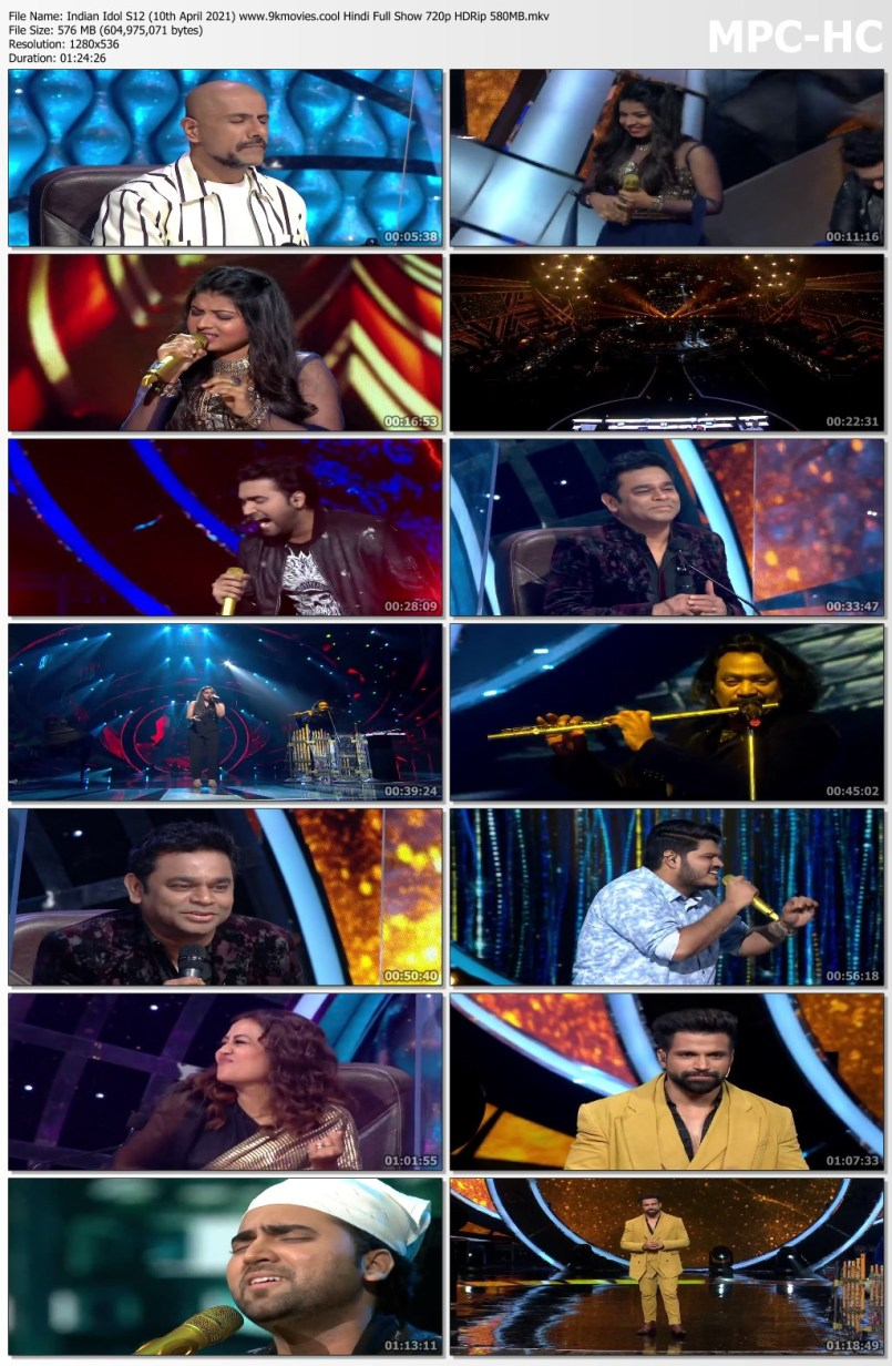 Download Indian Idol S12 (10th April 2021) Hindi Full Show 720p HDRip 580MB