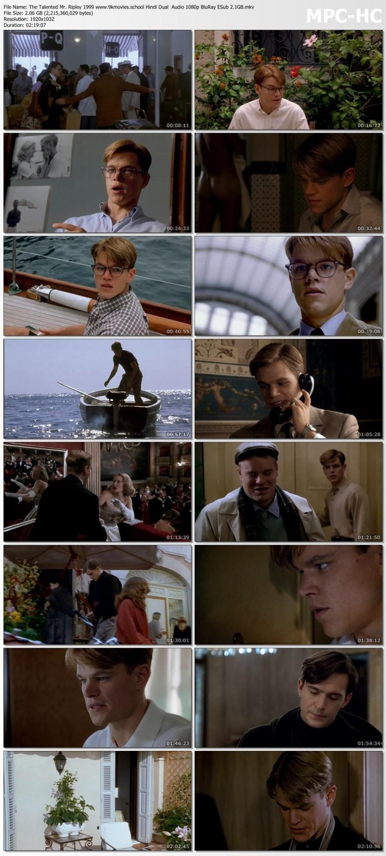Download The Talented Mr. Ripley 1999 Hindi Dual Audio 1080p BluRay ESub 2.1GB