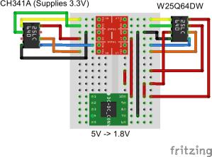 programming  Wiring for Logic Level Converter to 18V SPI