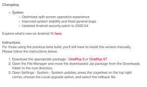Download links for OP 5 and OP5T for Android 10