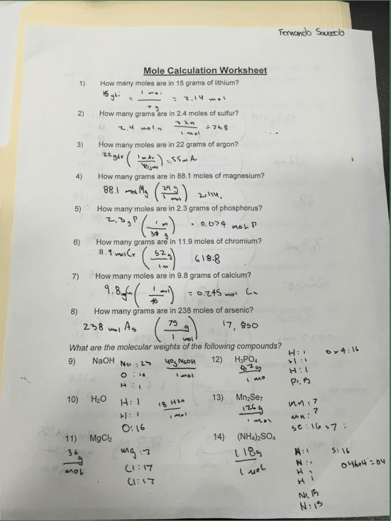 Mole Calculation Worksheet  Fernando Saucedo's Blog