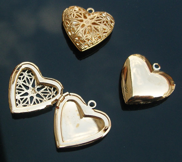 brass heart locket with