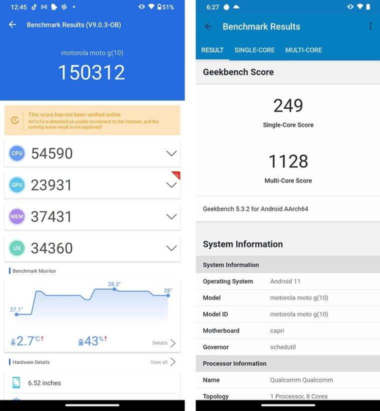 Motorola Moto G10 AnTuTu Geekbench benchmark