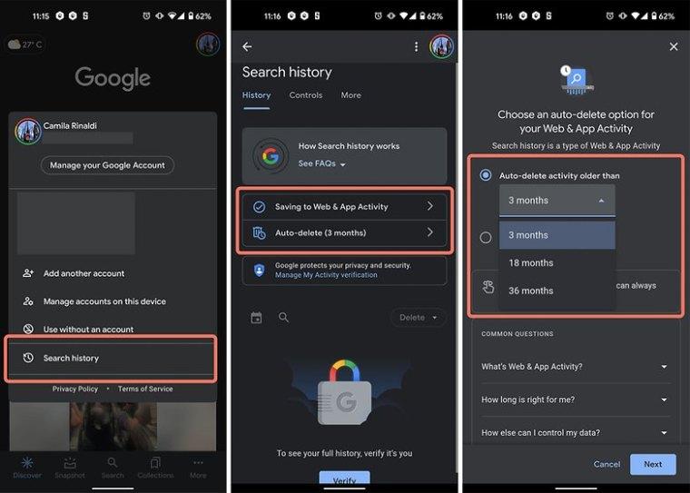 auto delete Google search history