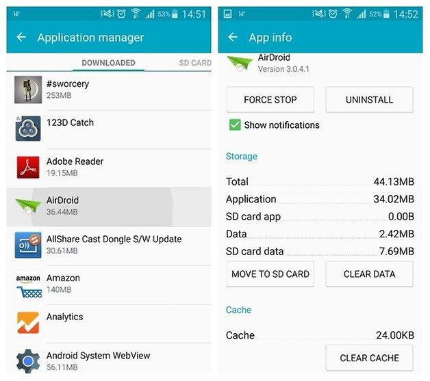 AndroidPIT Galaxy Note 3 Android 5 0 диспетчер приложений Lollipop очистить данные кеша airdroid